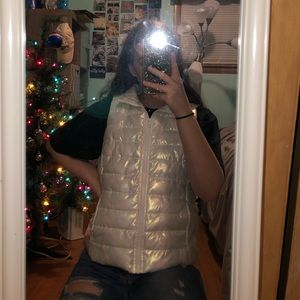 White Holographic Puffer Vest